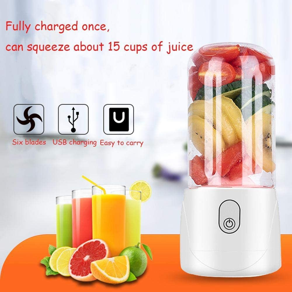 Mini USB recargable portátil eléctrico exprimidor mezclador de frutas y verduras licuadora de hielo máquina licuadora taza de jugo con tapa blanca White