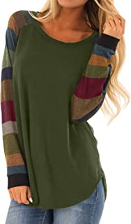 BLENCOT Women's Lightweight Color Block Long Sleeve Loose Fit Tunics Shirts Tops