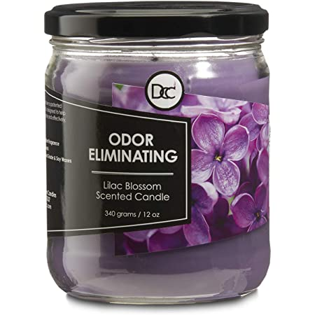 Lilac Blossom Candle - Odor Eliminating Highly Fragranced Candle - Eliminates 95% of Pet, Smoke, Food, and Other Smells Quickly - Up to 80 Hour Burn time - 12 Ounce Premium Soy Blend