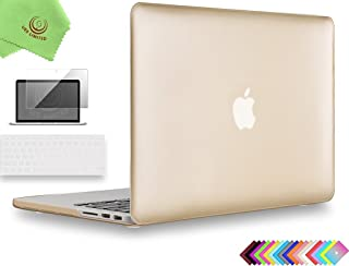 UESWILL 3in1 Luxury Gold Matte Hard Case for MacBook Pro (Retina, 13 inch, Late 2012/2013/2014/Early 2015), Model A1425 / A1502, NO CD-ROM + Clear Keyboard Cover and Screen Protector, Gold
