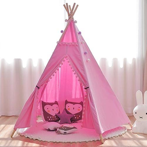 Hubston Tipi Zelt Kinderzelt Spielzelt Spielhaus - Baumwolle Indianerzelt für Kinder Kinderzimmer mit Bodenmatte Rosa(Rosa)