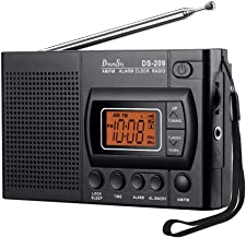 DreamSky Portable AM/FM Radio Alarm Clock, Earphone Jack, 12/24H Time Display with Backlight, Ascending Alarms, Battery Operated, Sleep Timer AA Battery Included for Walking, Emergency. (Renewed)