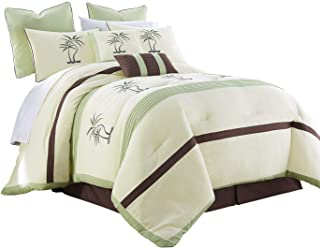 Chezmoi Collection Bali 8-Piece Embroidered Palm Trees Pleated Striped Comforter Set Queen Size