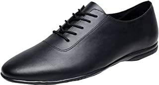 Vimedea 9016 Mens Flat Heel Lace-up Round-Toe Leather Dance-Shoes