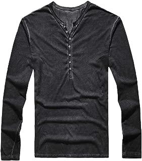 Zilosconcy Oto/ño e Invierno Top Casual de Hombre con Cuello Vuelto Shirt Vaquera de Manga Larga Tops Camisa de Bolsillo