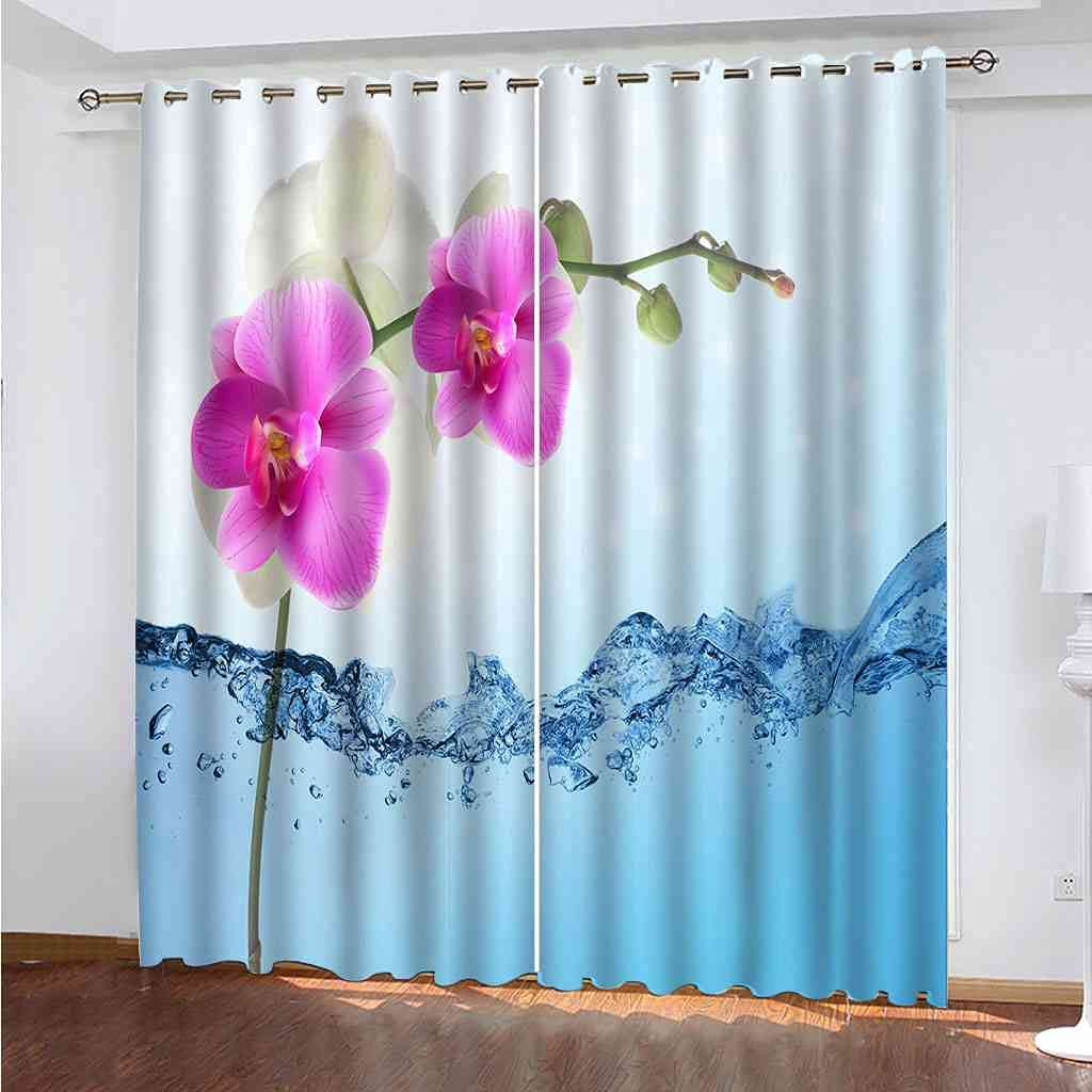 Our shop most popular BXXYXH Bedroom In stock Blackout Eyelet Curtains 3D Flowers in Water Blue