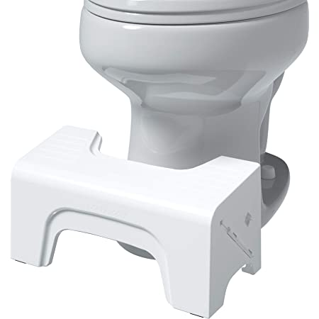 "Squatty Potty Fold N Stow Compact Foldable Toilet Stool, White, 7"", 1 lb"