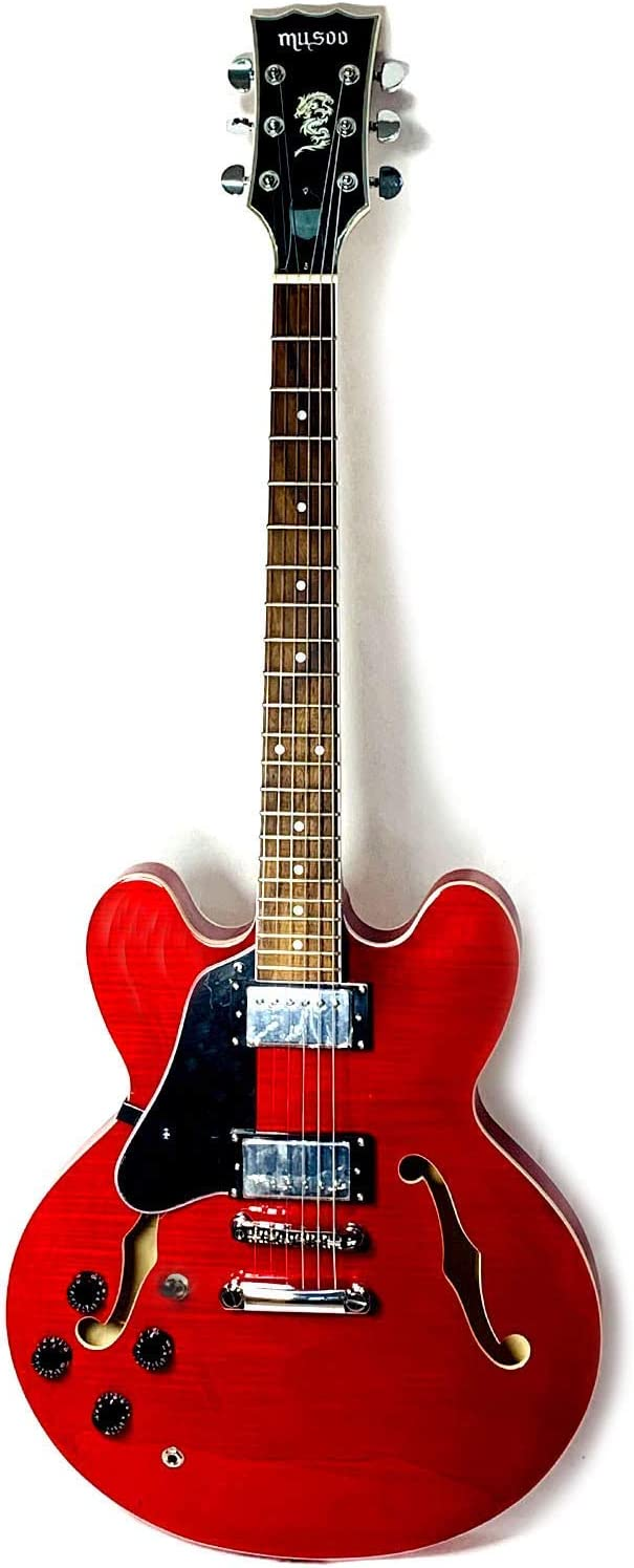 Musoo 335 style left hand Jazz top 爆買い新作 Maple Electric S Flame Guitar 卓抜
