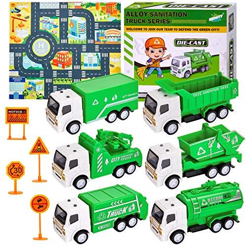 HERSITY 6 Piezas Camion Basura de Juguete Coches Pequeños M