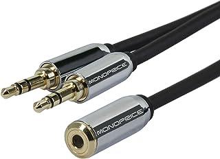 Monoprice 110146 6-Inch 3.5mm Stereo Jack Splitter for Mobile - Retail Packaging