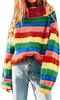 JOFOW Women Striped Turtleneck Sweater,Rainbow Colorful Striped Block Patchwork Knitwear New Casual Knitted Tops Pullover