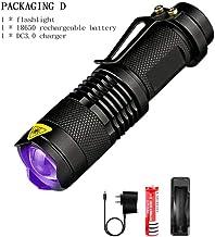 UV Flashlight Ultra Violet Light with Zoom Function Mini UV Black Light Pet Urine Stains Detector Scorpion Use AA/14500 Ba...