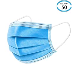 (50 Pieces) Dust Protection, Disposable Face No Breathing...