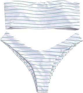 Women's Cute Strapless Swimsuits Stripe Padded Bandeau Bikini Set