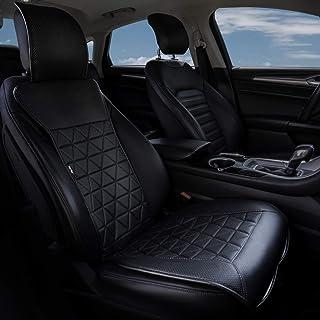 kingphenix Car Seat Cover (1 Piece Black), Luxury Leather Car Seat Protector, Universal Non-Slip Auto Seat Cover for 95% of Car Seats (1 Piece Black)