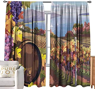 Andrea Sam Beaded Curtain Winery Decor,Countryside Landscape in Vineyard Agriculture Winemaking Season Grapes in Farm Art Print,Blue Yellow W120 x L96 inch,for Bedroom Curtain for Living Room