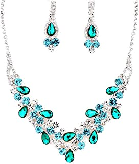 Elegant Chic Turquoise Emerald Clear Rhinestone V-Shaped Prom Bridesmaid Silver Evening Necklace Earrings Set