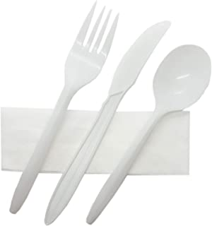 R Noble 160 Plastic Silverware Set with Napkins, Individually Wrapped, Disposable Silverware Set, Cutlery Kit, Medium Weight, 160 Napkins, 160 Plastic Forks, 160 Plastic Spoons, 160 Plastic Knives