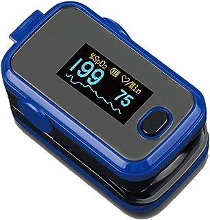 Oxímetro de pulso en la punta de los dedos SpO2 función de alarma para baja saturación de oxígeno en sangre, pulsómetro, monitor de frecuencia cardíaca, pantalla OLED, bolsa de transporte y cordón