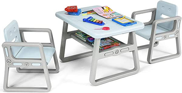 Costzon Kids Table And 2 Chair Set Children Table Furniture With Storage Rack For Toddlers Reading Learning Dining Playroom Desk Chair For 1 To 3 Years Activity Table Desk Sets Blue