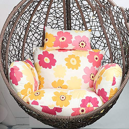 Thicken Hammock Chair Cushions with Removable Washable Hanging Egg Swing Chair Pads for Garden and Patio Chair Back Cushion for Double,Non-woveninnerbag-Sunflower