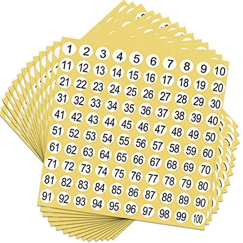 50 Blatt Zahlen Aufkleber 1 bis 100 Selbstklebende Aufkleber Runde Zahlen Etiketten Nummernetiketten Inventar Lagerung Organisation Aufkleber