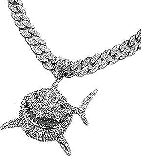 Hiphop Necklace, الذهب والهيب هوب الذهب الأبيض 6ix9ine المعدلجة قلادة القرش كبيرة مثلادة سلسلة الكوبانية بلينغ قلادة