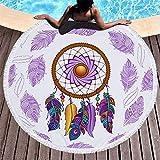 SDFGS Jeder liebt Strandfeder Traumfänger gedruckt Strandtuch Polyester Strandtuch Handtuch Ring Yogamatte großen runden Wandteppich-H