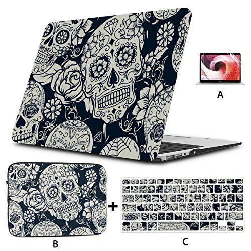 13 Inch MacBook Case Sugar Skull Floral Mac Book Pro Accessories Hard Shell Mac Air 11'/13' Pro 13'/15'/16' with Notebook Sleeve Bag for MacBook 2008-2020 Version