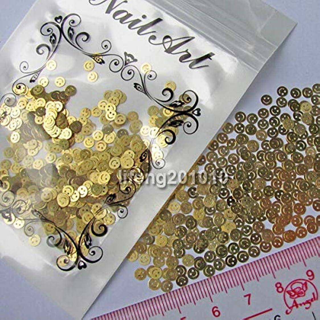 多くの危険がある状況未亡人みなさんFidgetGear ネイルアートの美用具のための金色のスマイリーの金属のステッカーの先端の装飾