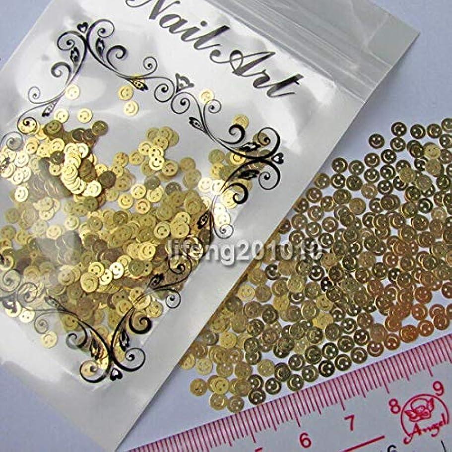 毎日エチケットコードレスFidgetGear ネイルアートの美用具のための金色のスマイリーの金属のステッカーの先端の装飾