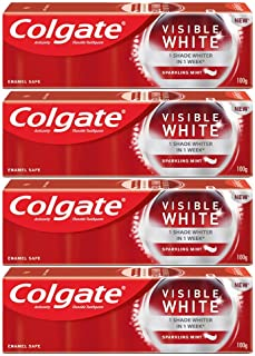 Colgate Visible White Teeth Whitening Toothpaste, Protects Enamel, Removes Stains, With Whitening Accelerators, 400g, 100g...