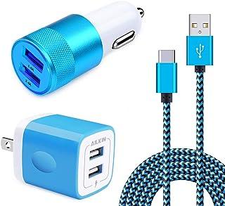 【2ポートUSB充電器×1個+2ポートカーチャージャー×1個+USB Type-cケーブル×2M×1本】Ailkin 3in1セット シガーソケットUSB車載充電器 ACアダプター スマホ充電器 usbコンセント 電源アダプタ USB Type-Cケーブル付き2m タイプC充電ケーブル Samsung Galaxy S10 S10+ S9/S8 /S8+、Huawei P9/P10/P20、LG G6 G5/V20、Sony Xperia XZ/XZ2、Nexus 5X/6P、Onplus 2/ 3T他対応 (3in1-ブルー)