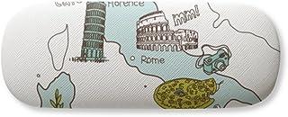 Map City Italy Landmark National Flag Pattern Gl Case Eyegl Hard Shell Storage Spectacle Box