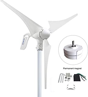 PIKASOLA Wind Turbine Generator 400W 12V with 3 Blade 2.5m/s Low Wind Speed Starting Wind Turbines with Charge Controller, Windmill for Home