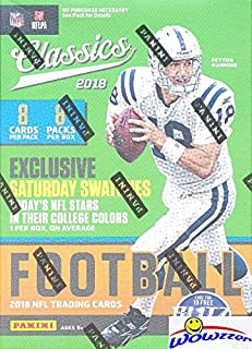2018 Panini Classics NFL Football EXCLUSIVE Factory Sealed Retail Box with MEMORABILIA Card! Look for Rookies & Auto's of Baker Mayfield, Saquon Barkley, Sam Darnold & Many More! WOWZZER