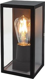 Rectangular Glass Wall Lantern Outdoor Garden Wall Light Black Body Metal Luminaire ZLC084B