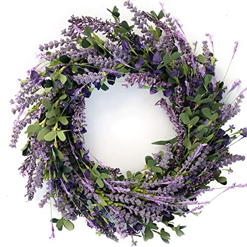 Bibelot 20 Inch Lavender Wreath for Front Door Greenery Leaves Wreath for All Seasons Indoor Outdoor Floral Wreath for Wedding Party Home Decor