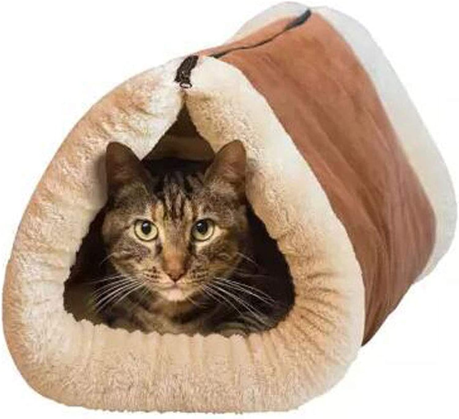 Deluxe 2 in 1 Tube Cat Mat and Bed, Large Pet Bed with SelfHeating Thermal Core Furniture&Carpets FurFree Warm House for Cat Puppy