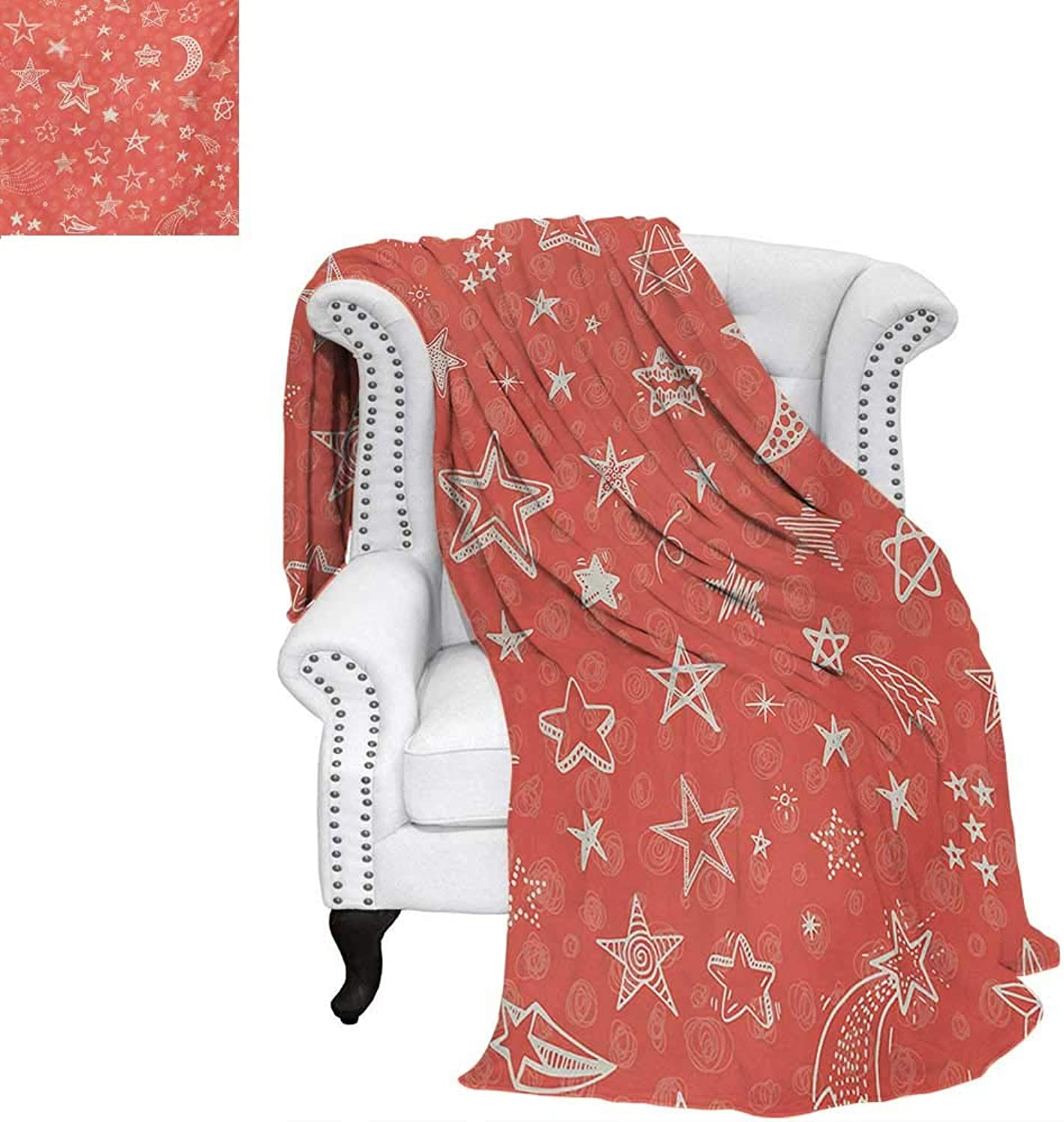 Warmfamily Star Digital Printing Blanket Moon and Stars Theme Pattern Starry Night Shooting Stars Space Galaxy Kids Style Lightweight Blanket 60 x50  Coral White