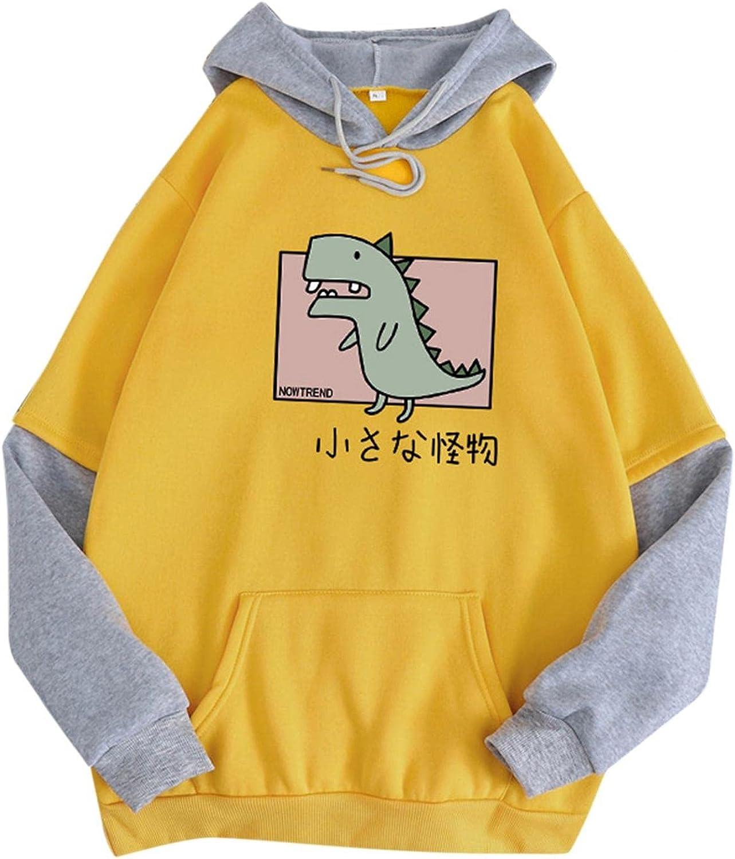 Gerichy Hoodies for Women, Womens Dinosaur Sweatshirt Long Sleeve Splice Cute Hoodies Teens Girls Casual Pullover Tops