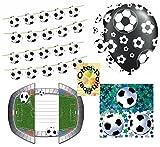 HHO Fußball Dekoset Geburtstag Girlande + Luftballons + Einladungskarten mit Umschlägen
