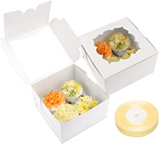 20 PCS 4ct Cupcake Boxes with Inserts Bakery Boxes with Window(White)