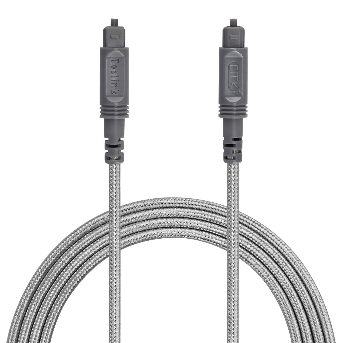 Optical Audio Cable Digital Toslink Cable 10ft - [ Ultra-Durable Nylon Braided Jacket ] Slim Flexible and Durable Fiber Optic Cord for Home Theater, Sound bar, TV, PS4, Xbox and More