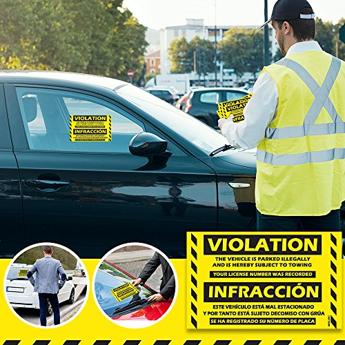 """Parking Violation Stickers Hard to Remove (Yellow) 100-Pack Bilingual Towing Messages for Warning Cars - Hard to Remove and Super Sticky 5"""" x 8"""" by MESS Photo #4"""