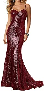 Women's Spaghetti Strap Sequins Mermaid Prom Dress Sweetheart Long Evening Party Gown