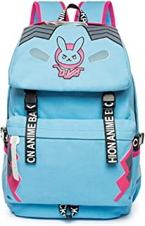 Blue Canvas Backpack Vintage Anime Casual Bookbag Bunny Bag for Teen Girls Boys