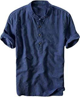 Men Fashion T-shirt Shirt, Male Summer Solid Casual Button Short Sleeve Quick Dry Top Blouse Tee Shirt Tunic Tops