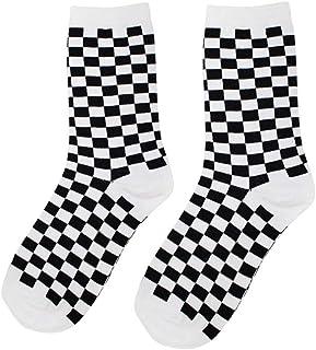 delibett, Calcetines Rejilla en Blanco y Negro Mujer Hombre Calcetines Algodon Hombre Deporte, Calcetines Antideslizantes, para Mujer Hombre