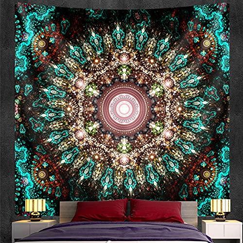 QAWD Tapiz de Mandala Tapiz de brujería Estilo Bohemio Hippie Escena psicodélica Fondo de Tela Manta Tela Colgante A13 150x200cm